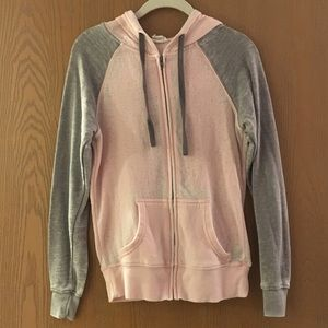 Full Tilt Small Pink and Gray Distressed Hoodie